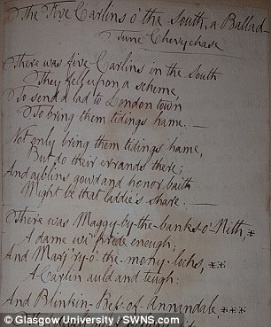 Scientists extracted a minimally destructive destructive sample of ink directly from the paper's surface of each source. This image shows an original Burns poem, The Five Carlins