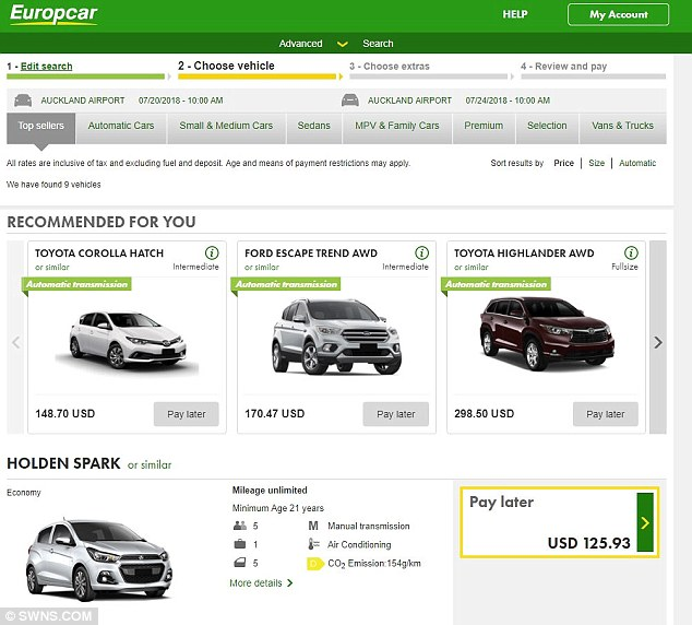 A screengrab shows the price of hiring the same car over the same time period in New Zealand for customers from Afghanistan or India (125 USD or £95)