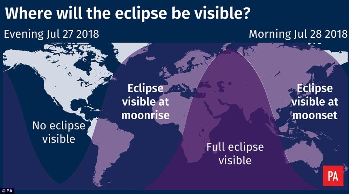 Mathematically, the longest an eclipse could ever last is 1 hour 47 minutes, and the length of transit depends on the alignment of the Sun, Earth and the moon as well as how far away the moon is from us. The further away it is, the longer it spends in the shadow - known as Umbra - of our planet. Tonight, the moon is approaching apogee, the furthest point away from us in orbit