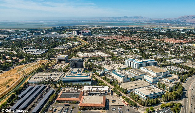 Intelligence officers claim hostile foreign governments are exploiting Silicon Valley's open business culture to steal American tech secrets. Pictured is a general view of an industrial complex in Santa Clara, California