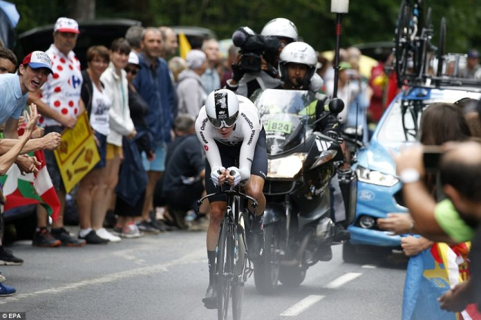 Thomas's Team Sky team-mate Chris Froome pictured during his individual time trial run in the south of France on Saturday
