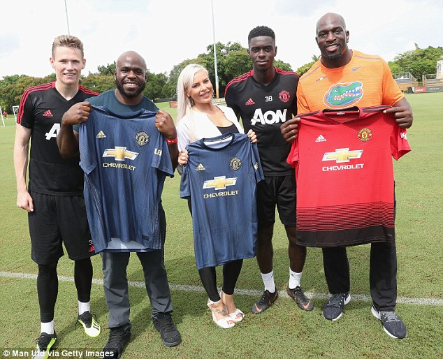 YoungstersScott McTominay and Axel Tuanzebe also took time out of training to get involved