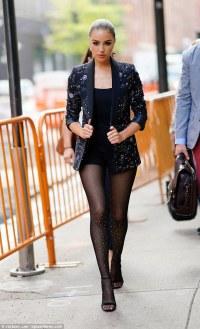 Olivia Culpo sparkles in beaded blazer and glittering ...