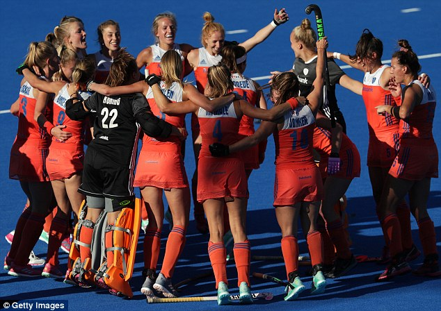 Hollandcelebrate their victory over Ireland in the World Cup final at Lee Valley Hockey Centre
