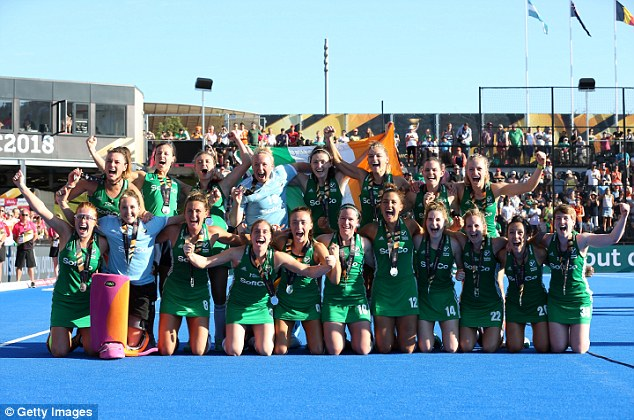 Ireland celebrate with their silver medals after theirfirst World Cup final ended in defeat