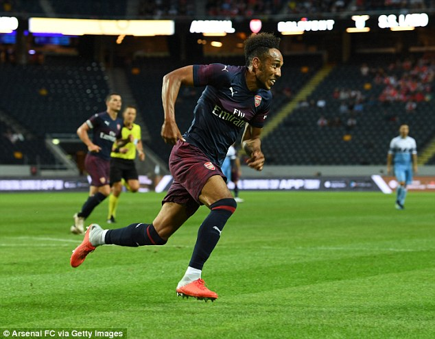 Pierre-Emerick Aubameyang in action for Arsenal during their pre-season clash with Lazio