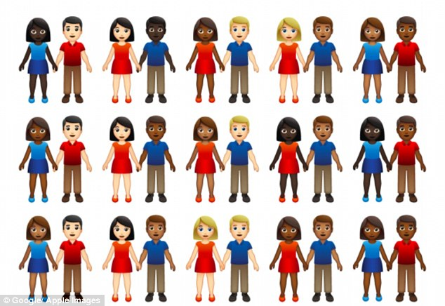 A proposal submitted to the Unicode Consortium requests that there be five different skin tones applied to the emoji of two people standing next to each other and holding hands