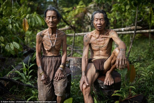 The Mentawai people live on the Indonesian islands of the same name, and are known for their decorative tattoos and the practise of sharpening their teeth, which they believe make them more attractive to the opposite sex