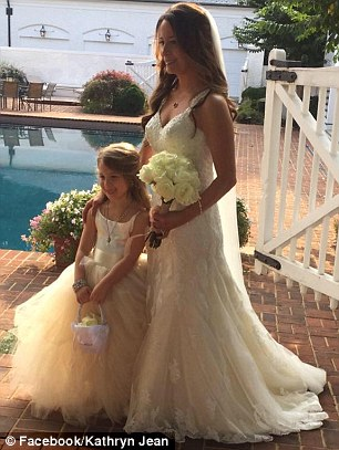 Kayden's mother Kathryn (seen on her wedding day with her daughter, left, in 2016) had been trying for years to get full custody of her. Her sister said on Monday that she feared her ex would harm Kayden but that they were forced to allow him to spend time with her because of the court's decision