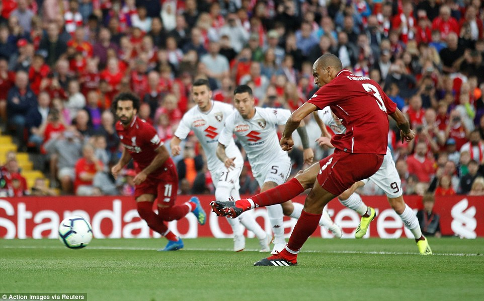 Fabinho, a big-money addition from Monaco fails to hit the target from the spot after Sadio Mane had been fouled