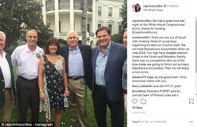 Rep. Collins was at the Congressional Picnic at the White House when he got an email from the company CEO that sparked the investigation; Collins posted pictures from the even to his instagram page; he's seen here with Vice President Pence and Karen Pence