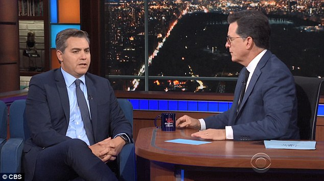 CNN reporter Jim Acosta, who has become a target for Trump's 'fake news' jabs stopped by The Late Show with Stephen Colbert on Wednesday night