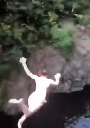 Jordan can be seen flailing her arms in the terrifying fall