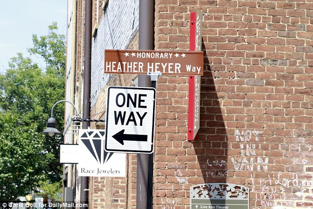 The spot where Heather Heyer, 32, was killed last year has been renamed Heather Heyer Way