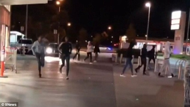The groups then descended on a basketball court in Melbourne's north-west on Wednesday evening 'for war', forcing terrified locals to hide indoors