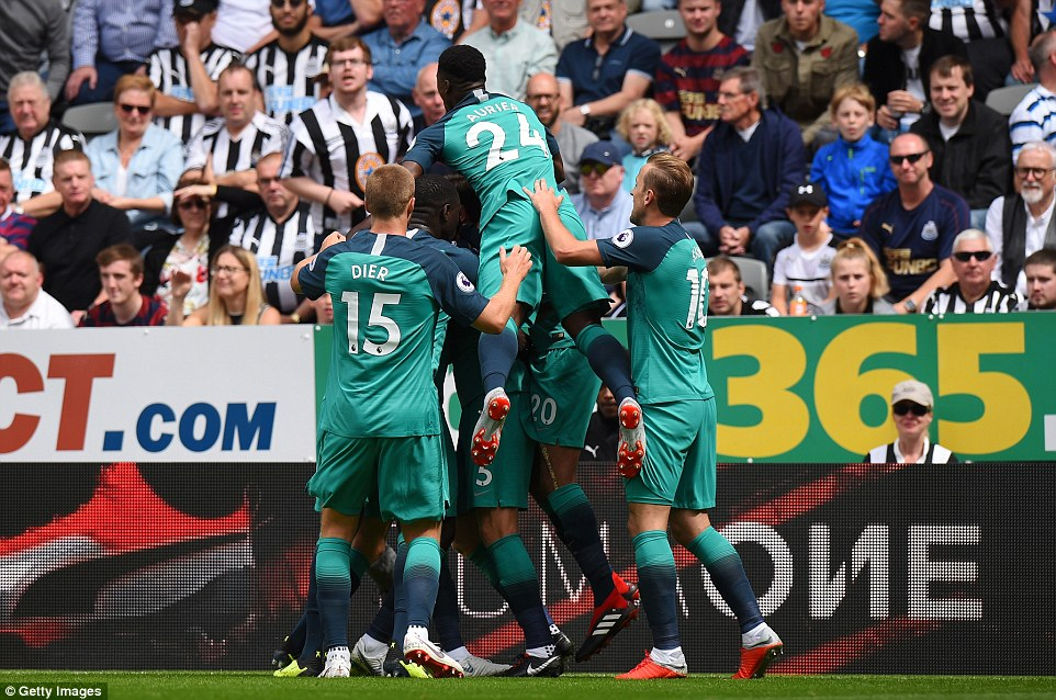 Vertonghen is surrounded by his Spurs team-mates after putting them 1-0 up in the eighth minute on Saturday afternoon