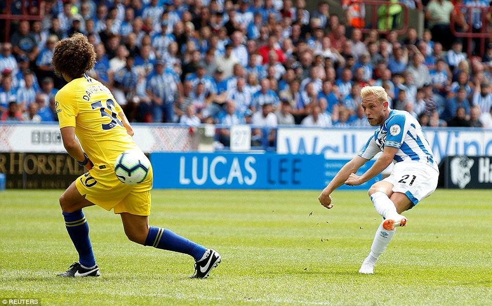 Alex Pritchard tries his luck from the edge of the box but failed to trouble Chelsea debutantKepa Arrizabalaga