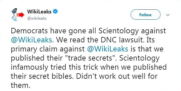 DNC lawyers said that WikiLeaks members actively used Twitter and that this April 21 tweet indicated that WikiLeaks had read the lawsuit which had been filed the previous day