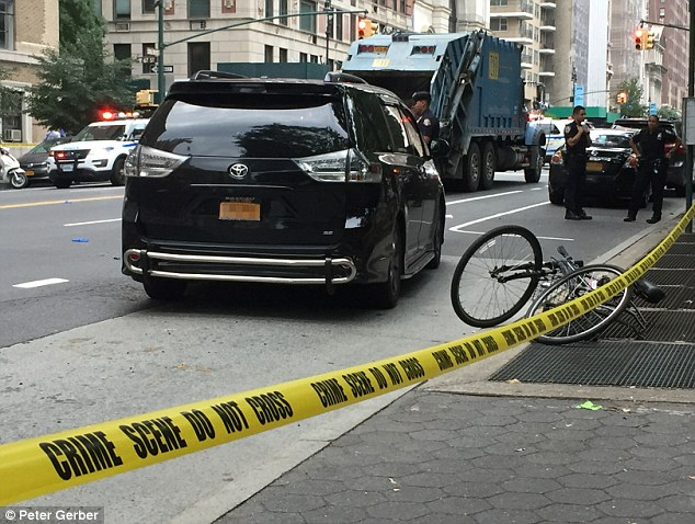 An NYPD spokesman said a Toyota pulled out in front of Lyden, news.com.au reported