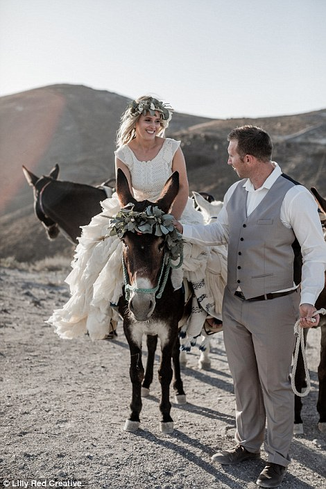 Originally, the couple had considered tying the knot in Venice, but they were soon swayed towards Santorini in Greece (pictured)