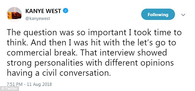He added: 'The question was so important I took time to think. And then I was hit with the let's go to commercial break. That interview showed strong personalities with different opinions having a civil conversation'