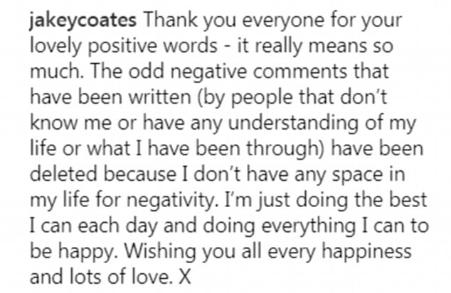 The widower responded to comments thanking people who had wished him well and claiming negative comments came from those who didn't 'know or understand' him