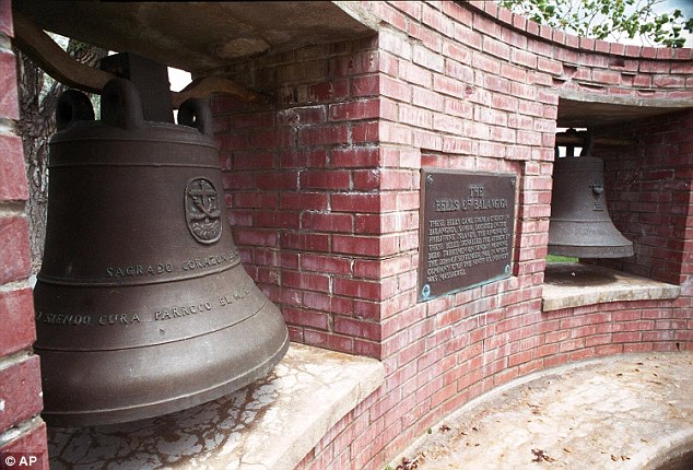 Two of the bells (pictured) are currentlyinstalled at a memorial in the state of Wyoming, while the third is with US forces in South Korea