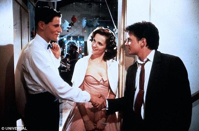 Missed: The cast noted that Crispin Glover was notably absent - having played Fox's character Marty's father in the original [pictured with Thompson and Fox in Back To The Future in 1985]