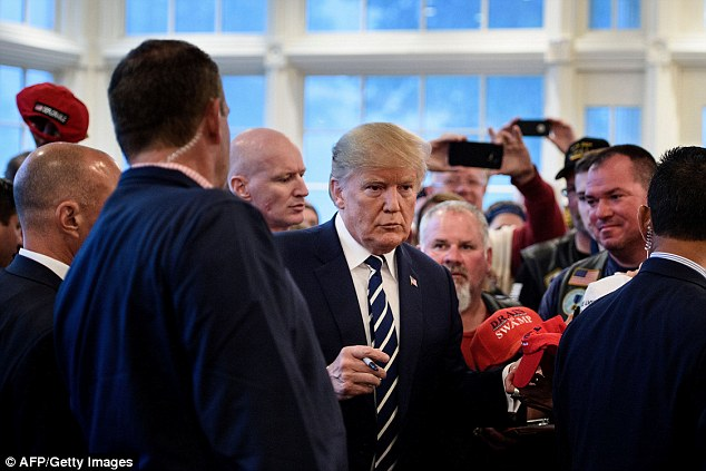 President Donald Trump (pictured on Saturday) has called outHarley-Davidson once again and warns other boycotting companies that moving overseas is a 'bad move'