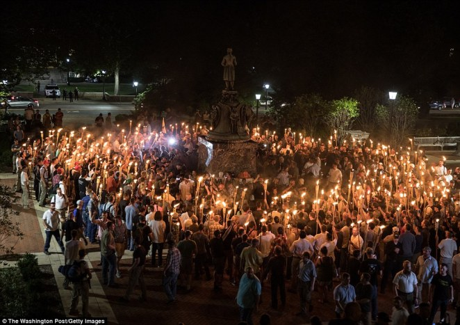 The march lasted 15 to 20 minutes before ending in skirmishing when the marchers were met by a small group of counterprotesters at the base of the statue of Thomas Jefferson, the university's founder