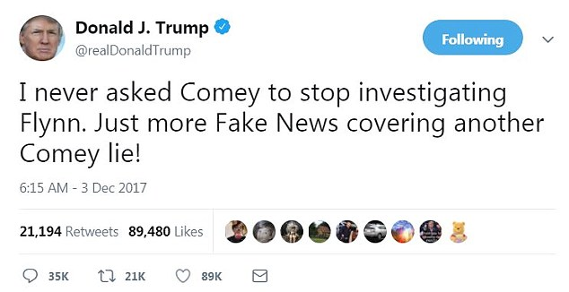 The president has insisted in the past that he never 'asked Comey to stop investigating Flynn'; it matters because intervening in a criminal probe about the retired general coud be seen as obstruction of justice