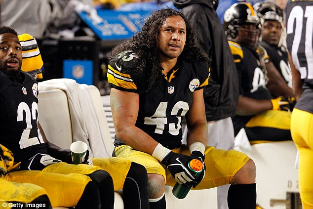 The intruder was wearing a yellow jersey with number 43, which hasn't been issued since former player Troy Polamalu's retirement in 2015. Polamalu is pictured above