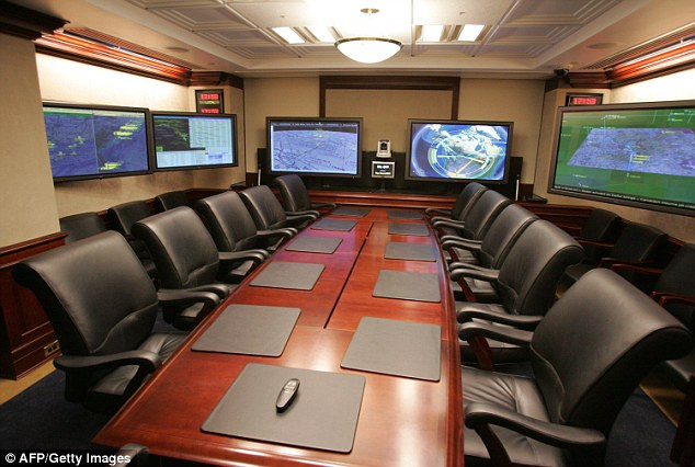 A conference room is shown inside the Situation Room complex at the White House ¿ a signal-hardened place where recording devices and cameras are strictly prohibited