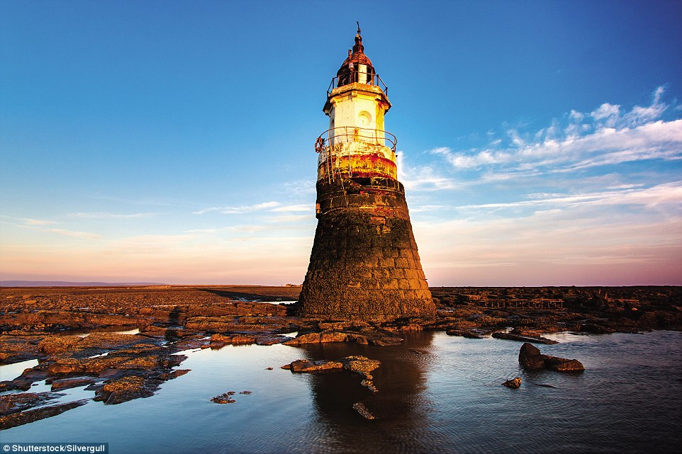 Built in 1847, Plover Scar Lighthouse in Morcambe Bay was the lower of a pair of lights leading into the Lune Estuary. A circular stone tower with an octagonal light chamber reaching a height of 24ft, it flashes white every two seconds. Hit by a ship in 2016, it has since been restored