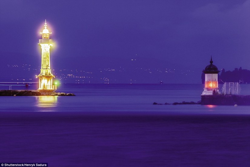 An ornate octagonal cast-iron tower 156ft tall and completed in 1896, Les Pâquis Lighthouse is a famous Geneva landmark. It is regularly floodlit, but still functions as a lighthouse, with white and green lights beamed in separate directions