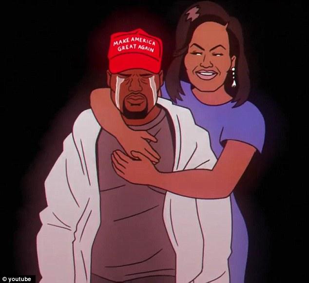 Cry baby, pleurer: La vidéo montre un Kanye en train de pleurer MAGA en train d'être embrassé par Michelle Obama