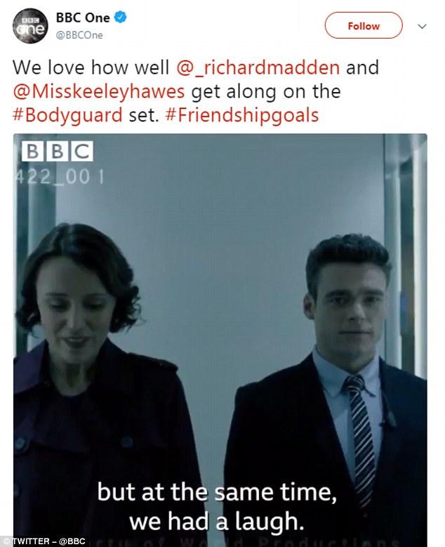 La BBC a tweeté des images de Keeley Hawes et Richard Madden, co-stars et amoureux à l'écran de Bodyguard, s'amusant dans les coulisses