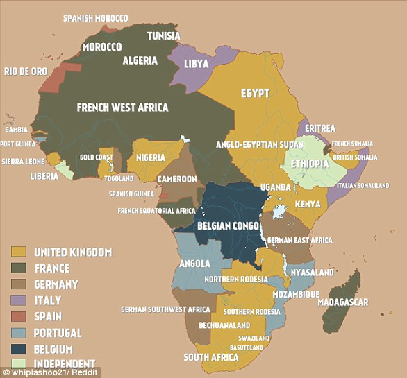 A map of colonial Africa on the eve of the First World War.  At that time, European powers controlled 90% of the continent