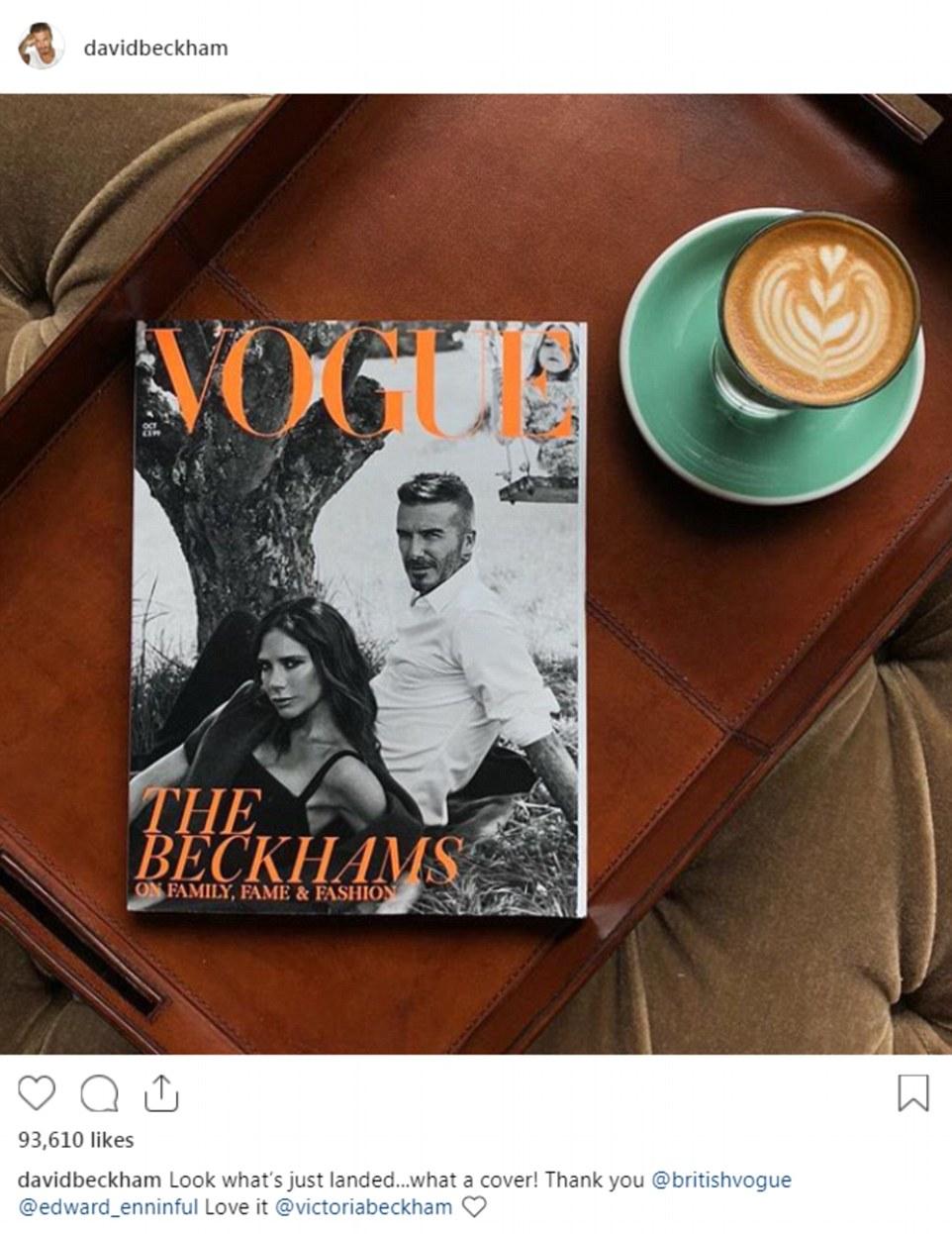 Enchanté: David a pris Instagram pour partager une photo arty du magazine sur sa table basse, enthousiasmant: «Regardez ce qui vient d'être débarqué… quelle couverture! Merci @britishvogue @edward_enninful Love it @victoriabeckham ❤️ '