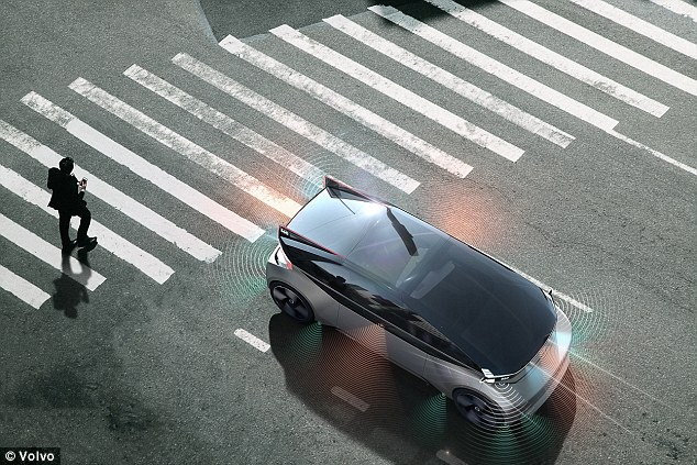 The 360c uses a system of lights and audio signals to notify pedestrians and other cars about the car's movements - a system that Volvo hopes will become the standard 'in how autonomous vehicles can safely communicate with all other road users'