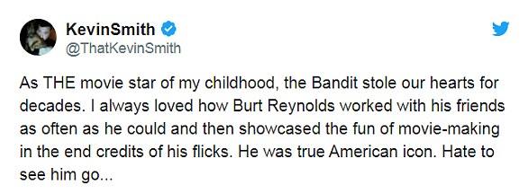 Il était fan: le réalisateur Kevin Smith a déclaré que Burt était LA star de cinéma de son enfance