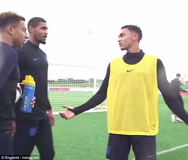 The Liverpool right back (right) has an argument with Lingard (left) and Ruben Loftus-Cheek