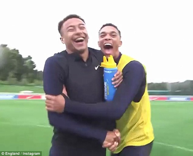 The England duo burst out laughing after the freak bit of skill and shake hands as promised