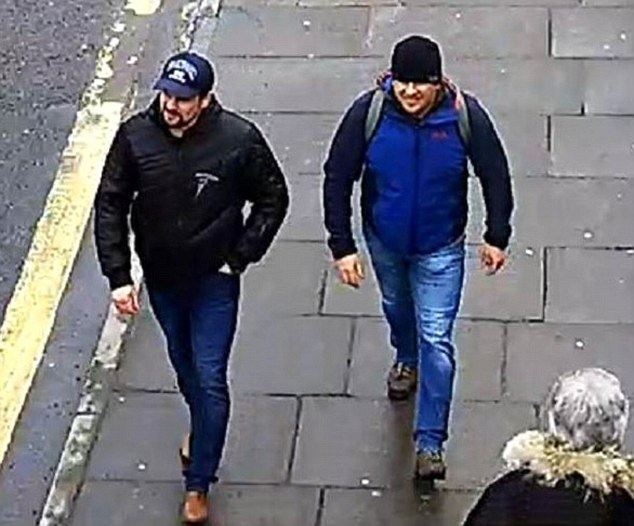 The pair smeared novichok on the home of Sergei Skripal in Salisbury, Wiltshire, in March
