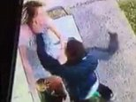 A thug has been caught on camera viciously attacking a mother of three and punching her in the head three times
