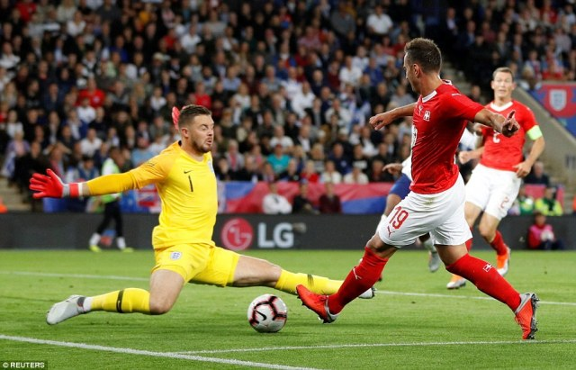 Jack Butland made a good save fromMario Gavranovic in the first half but looked below par from his form shown a year ago