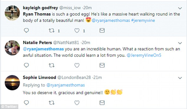 Gracious:Other fans of the star wrote: '@ryanjamesthomas you are an incredible human. What a reaction from such an awful situation...The world could learn a lot from you. @JeremyVineOn5... Ryan Thomas is such a good egg!'