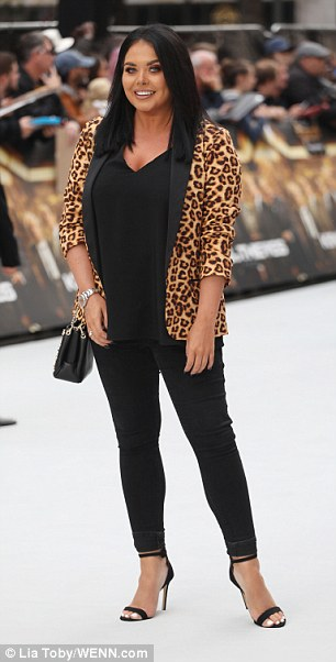 On point: Scarlett Moffatt was putting on an effortlessly chic display in a leopard print blazer on Wednesday at the King Of Thieves world premiere