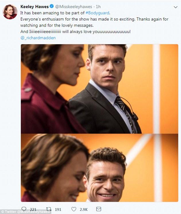 Lachen ist die beste Medizin: Bodyguard-Star Keeley teilte am Montag nach dieser schockierenden Wendung einen geifernden Beitrag über die Hit-Sendung BBC One