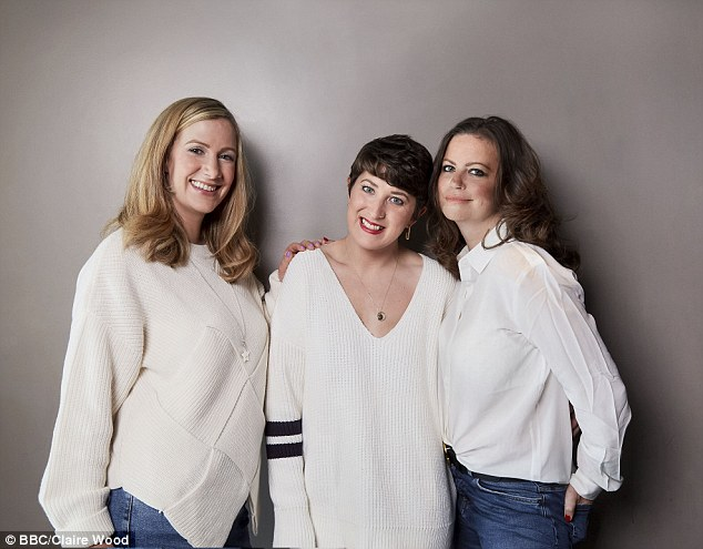 Rachael (left) with her podcast co-hosts Lauren Mahon (centre) and Deborah James (right)